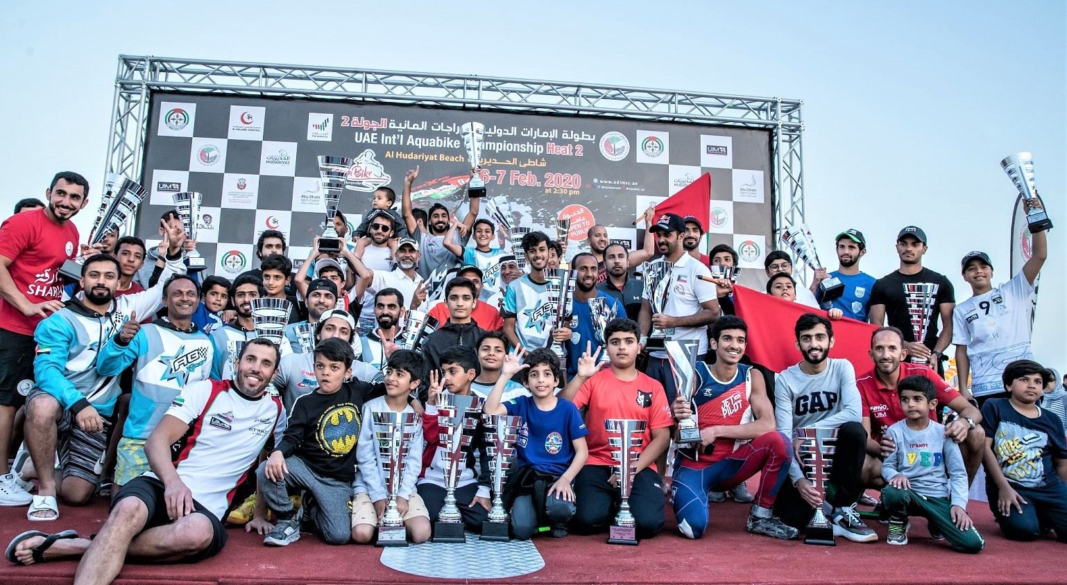 Caption:	The prize winners received their trophies from Salem Al Rumeithi, General Manager of Abu Dhabi International Marine Sports Club.
