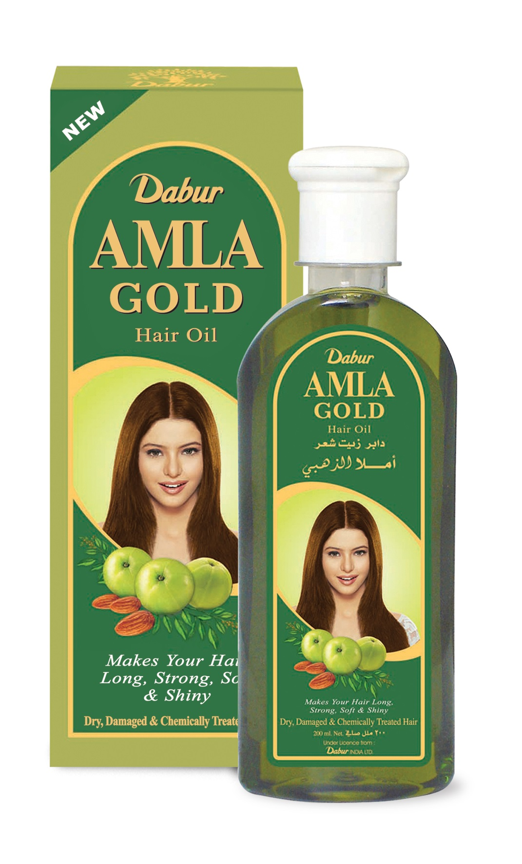 Dabur Amla Gold Hair Oil for long, strong, soft and shiny hair.