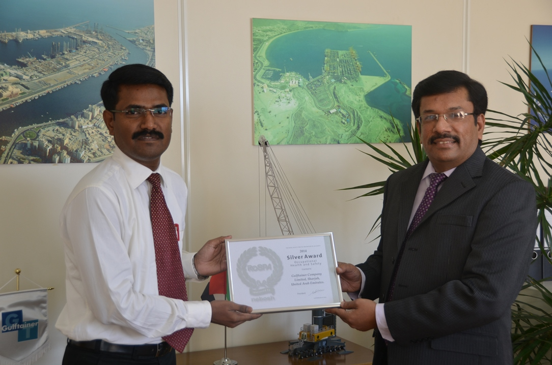 Gulftainer wins RoSPA Award 2014 for occupational health and safety