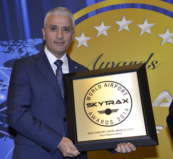Oryx Rotana Doha is named as the Best Airport Hotel in the Middle East by international travelers at the 2014 World Airport Awards