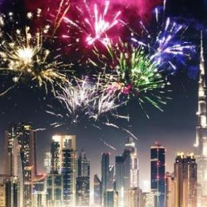 New Year' Eve at Original Wings and Rings with Burj Khalifa viewing tables.