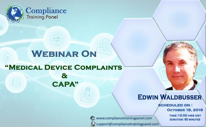 "Webinar On ""Medical Device Complaints & CAPA"""