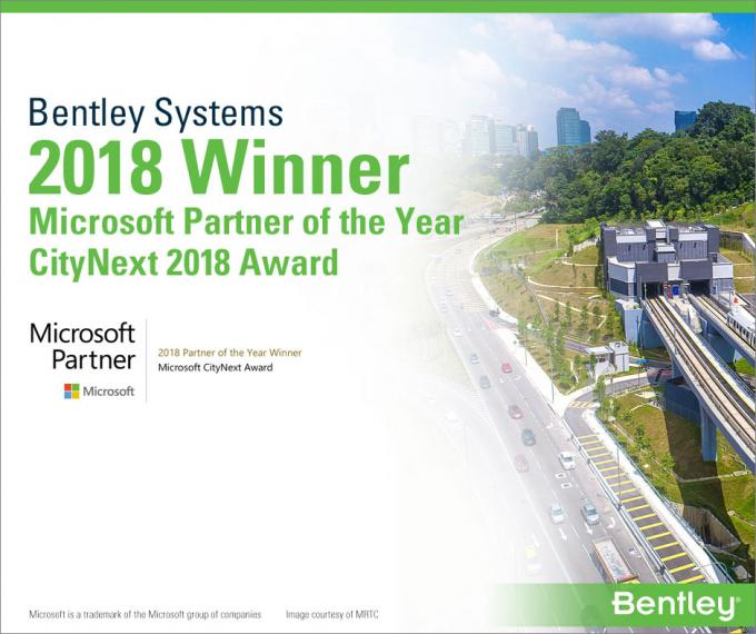 Bentley Systems Named 2018 Microsoft CityNext Partner of the Year