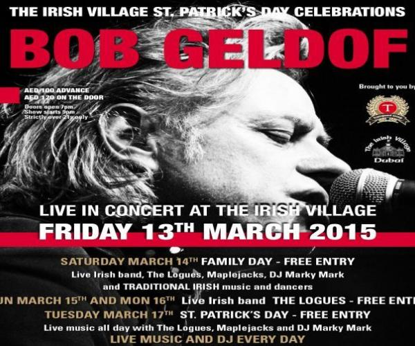 Bob Geldof Live at the Irish Village- As St. Patrick's Day comes around this year, Sir Bob Geldof returns to the Irish Village for a night of celebration
