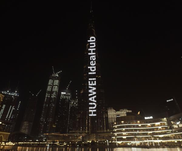 The world's tallest building - Burj Khalifa, lit up by HUAWEI IdeaHub