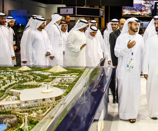 H.H. Sheikh Mohammed Bin Rashid Al Maktoum Visits Falconcity of Wonders Stand at Cityscape Global 2017